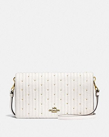 HAYDEN FOLDOVER CROSSBODY CLUTCH WITH QUILTING AND RIVETS