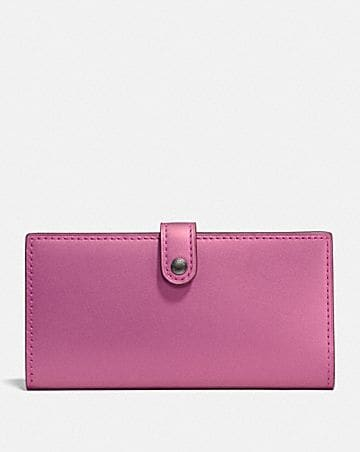 SLIM TRIFOLD WALLET WITH FLORAL BOW PRINT INTERIOR