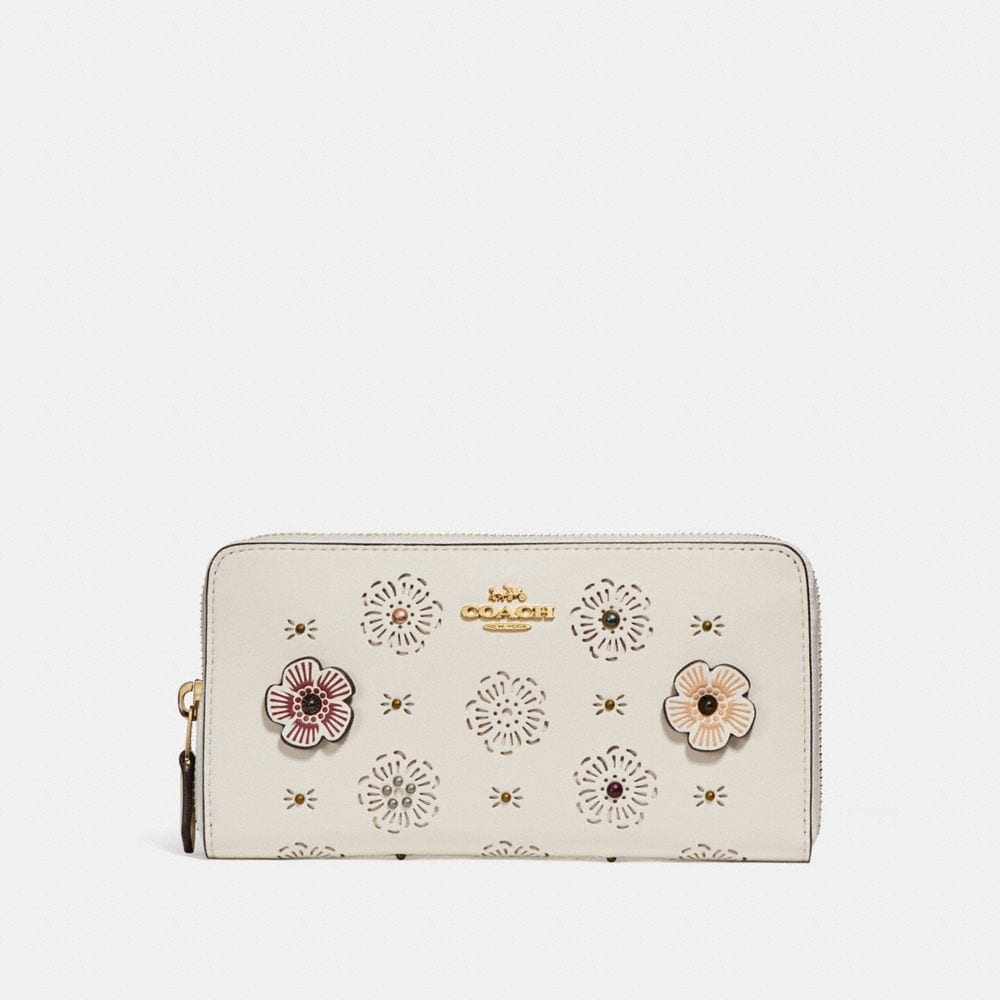ACCORDION ZIP WALLET WITH CUT OUT TEA ROSE