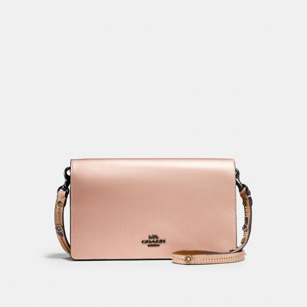 FOLDOVER CHAIN CLUTCH WITH TEA ROSE
