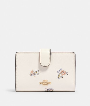 MEDIUM CORNER ZIP WALLET WITH DANDELION FLORAL PRINT