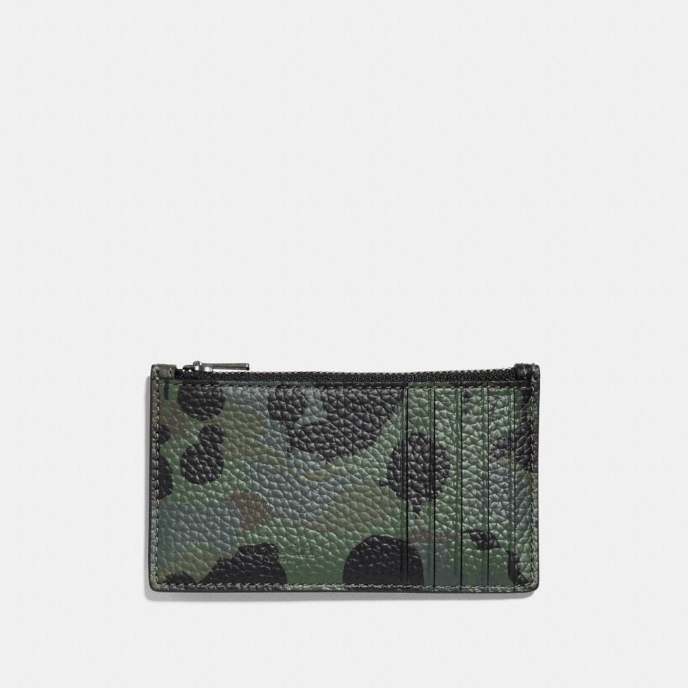 ZIP CARD CASE WITH WILD BEAST PRINT AND STUDS