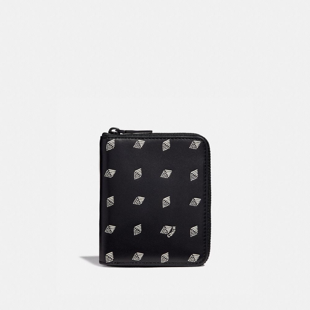 SMALL ZIP AROUND WALLET WITH DOT DIAMOND PRINT
