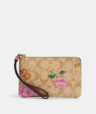 CORNER ZIP WRISTLET IN SIGNATURE CANVAS WITH PRAIRIE ROSE PRINT