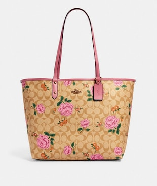 REVERSIBLE CITY TOTE IN SIGNATURE CANVAS WITH PRAIRIE ROSE PRINT