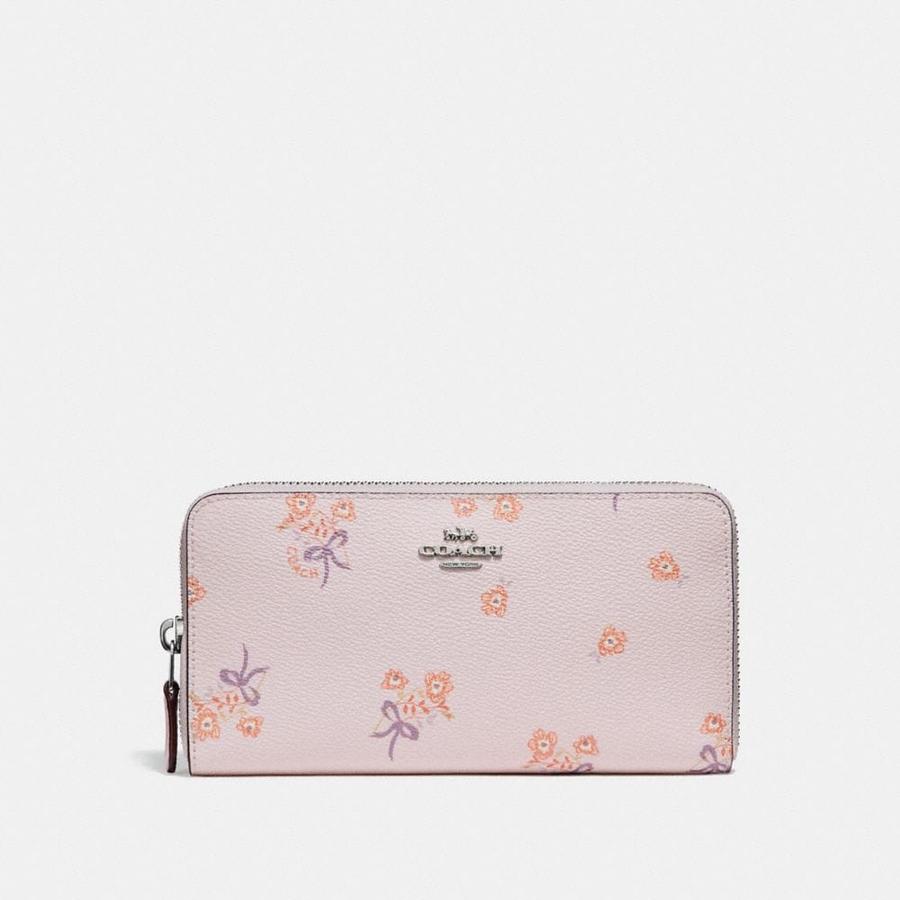 ACCORDION ZIP WALLET WITH FLORAL BOW PRINT