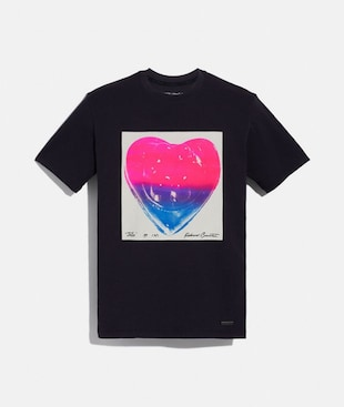 COACH X RICHARD BERNSTEIN PINK AND BLUE JELLO HEART T-SHIRT