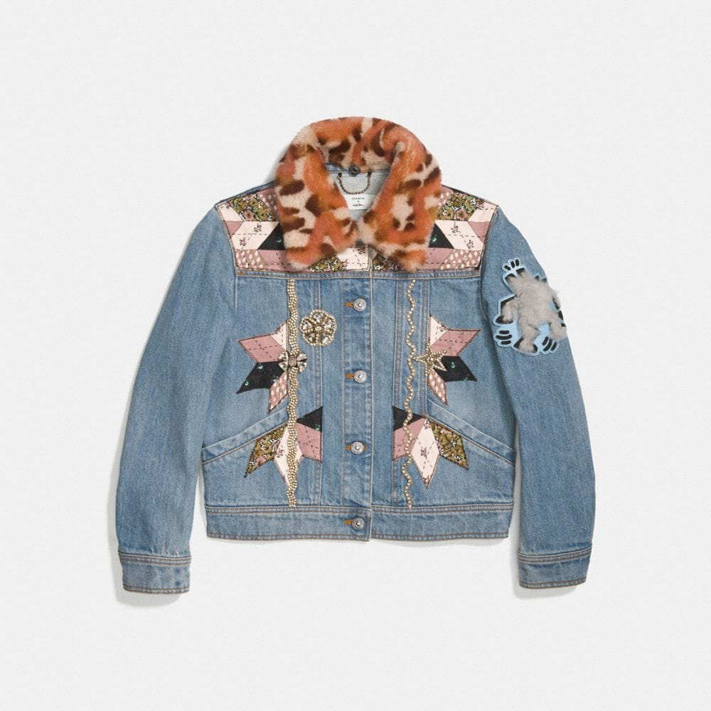 EMBELLISHED QUILTED PATCHWORK DENIM JACKET