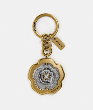 SPINNING TEA ROSE BAG CHARM
