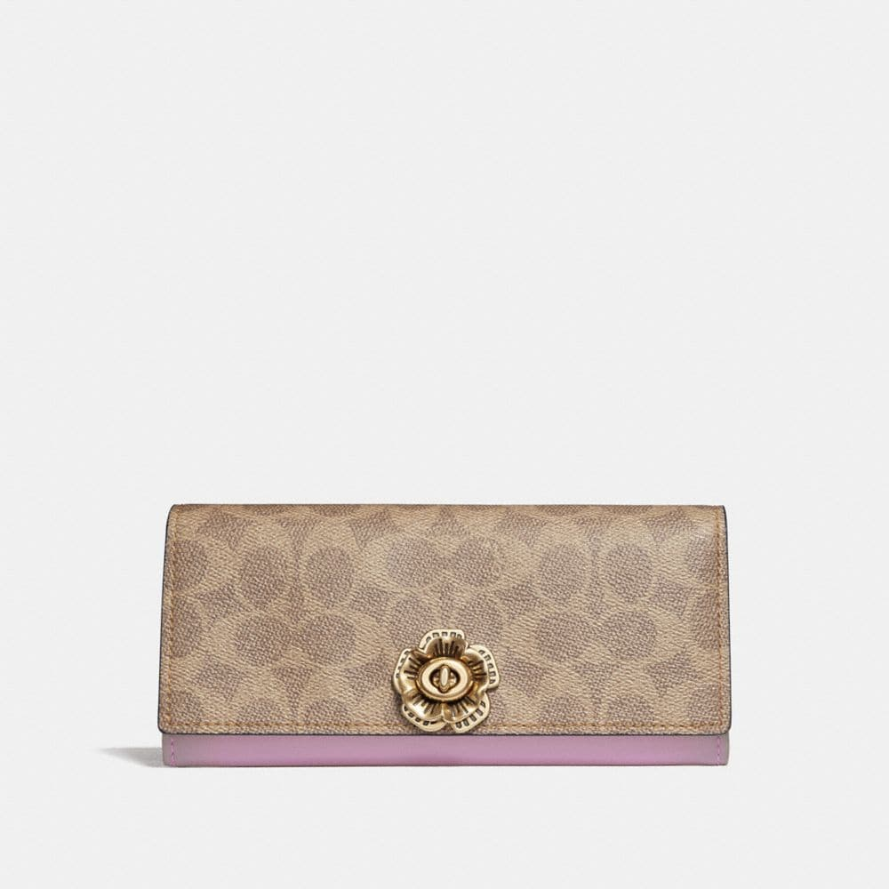 ENVELOPE WALLET IN COLORBLOCK SIGNATURE CANVAS WITH TEA ROSE TURNLOCK