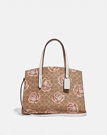 Womens satchels coach charlie carryall in signature rose print mightylinksfo