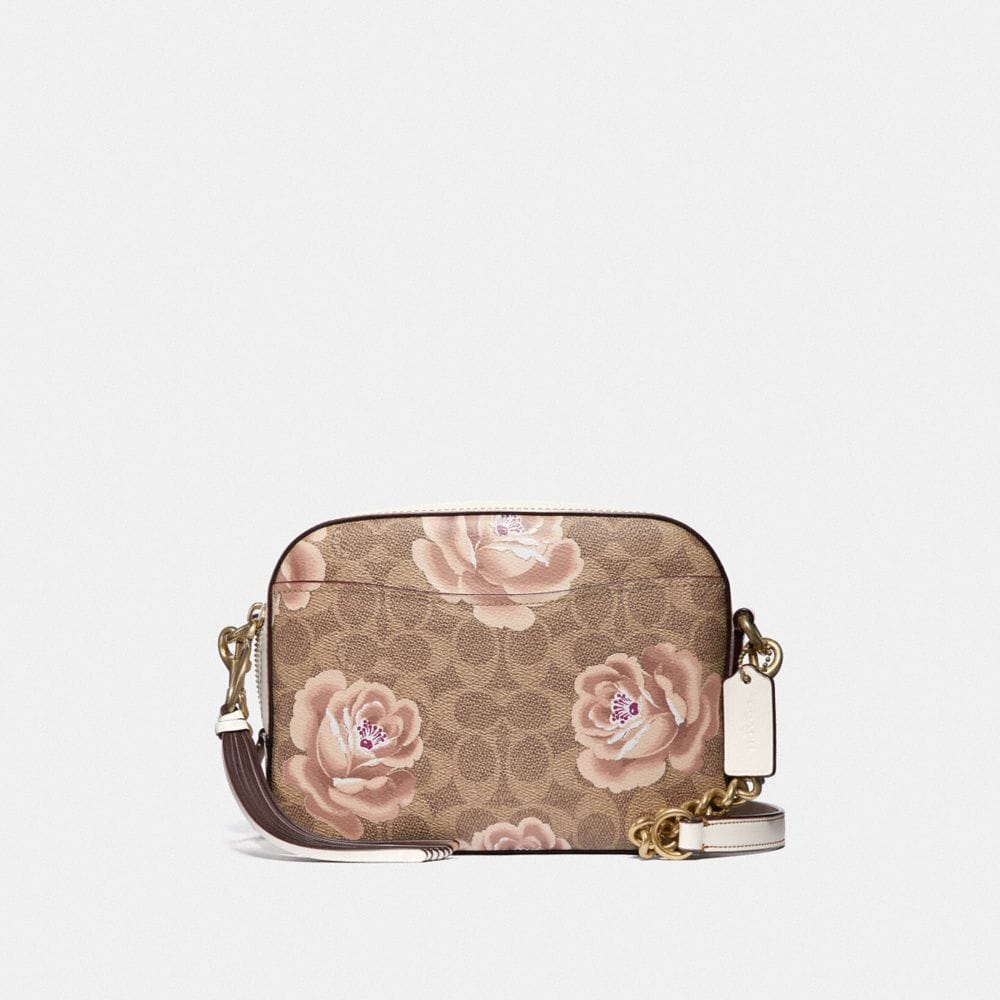 CAMERA BAG IN SIGNATURE ROSE PRINT