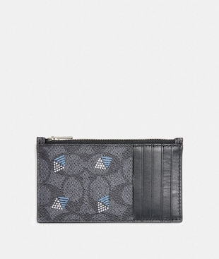 ZIP CARD CASE IN SIGNATURE CANVAS WITH DOT DIAMOND PRINT