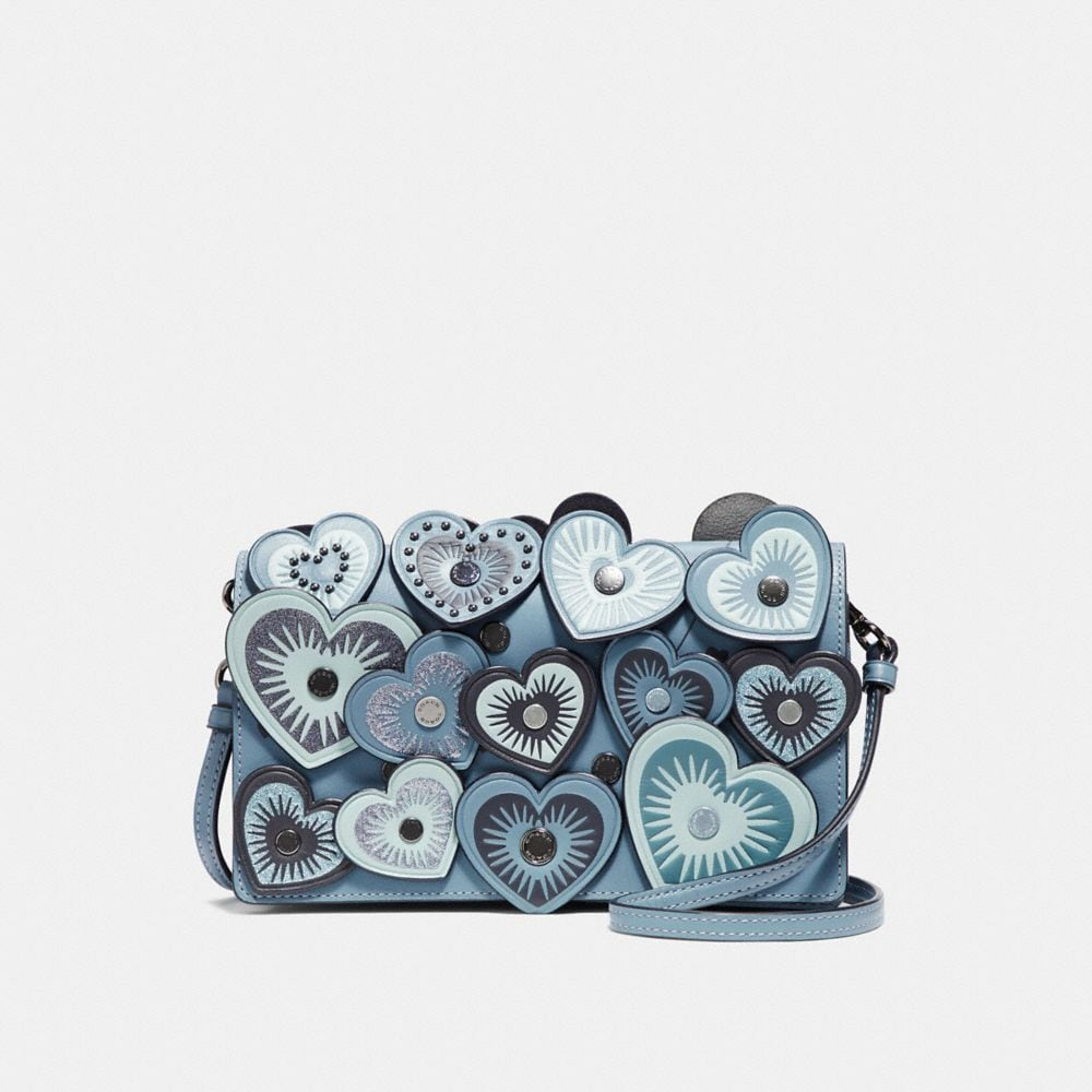 FOLDOVER CROSSBODY CLUTCH WITH HEARTS
