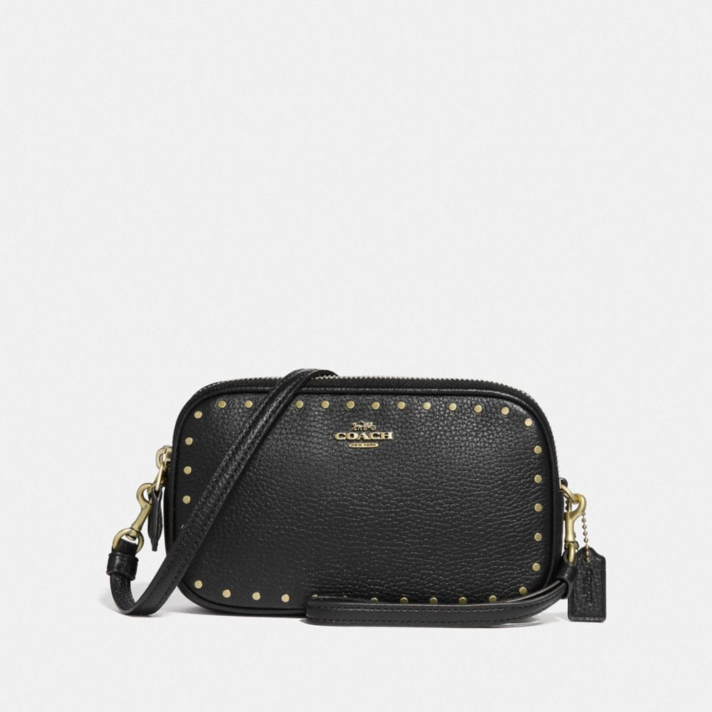 CROSSBODY CLUTCH WITH RIVETS