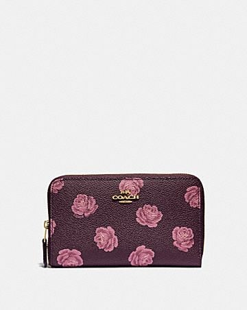 3318f02c1c95aa MEDIUM ZIP AROUND WALLET WITH ROSE PRINT