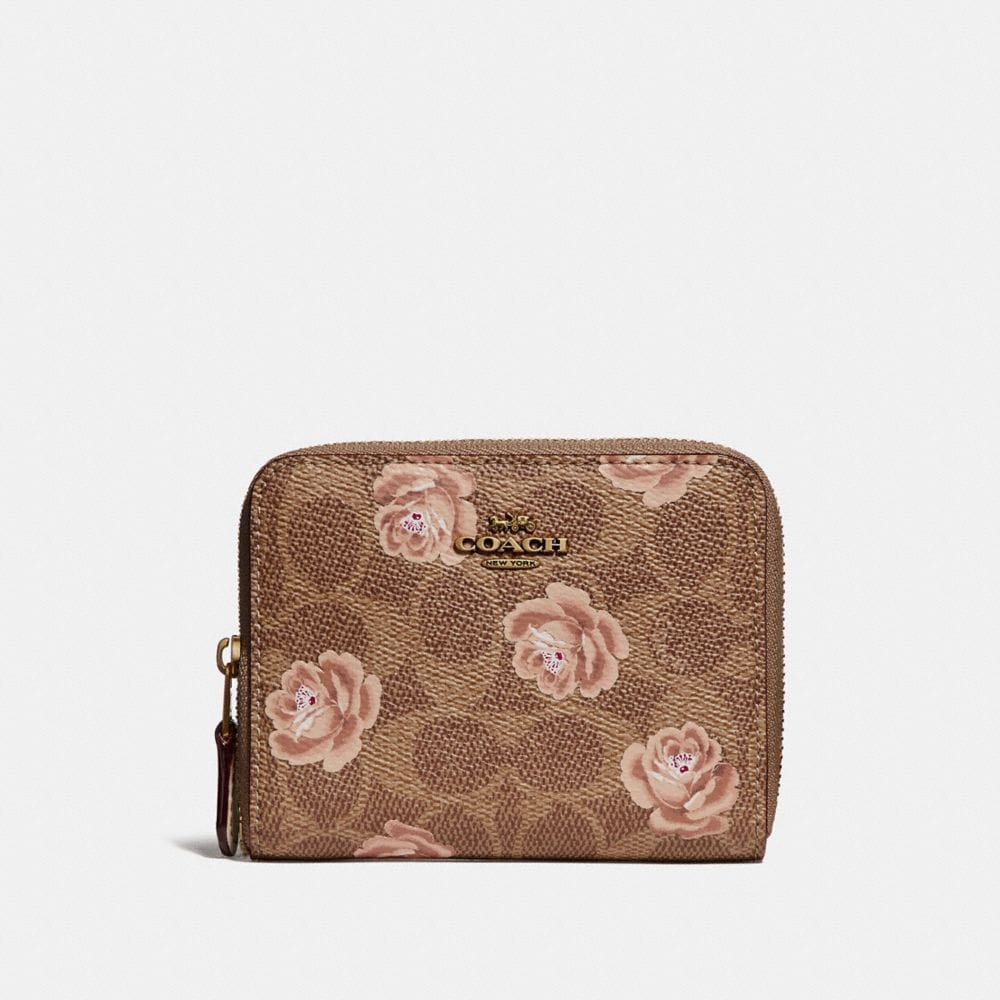 SMALL ZIP AROUND WALLET IN SIGNATURE ROSE PRINT