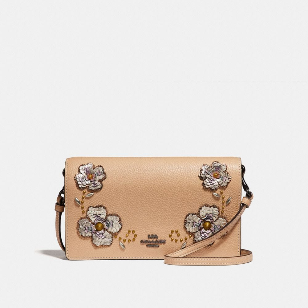 FOLDOVER CROSSBODY CLUTCH WITH LEATHER SEQUIN APPLIQUE