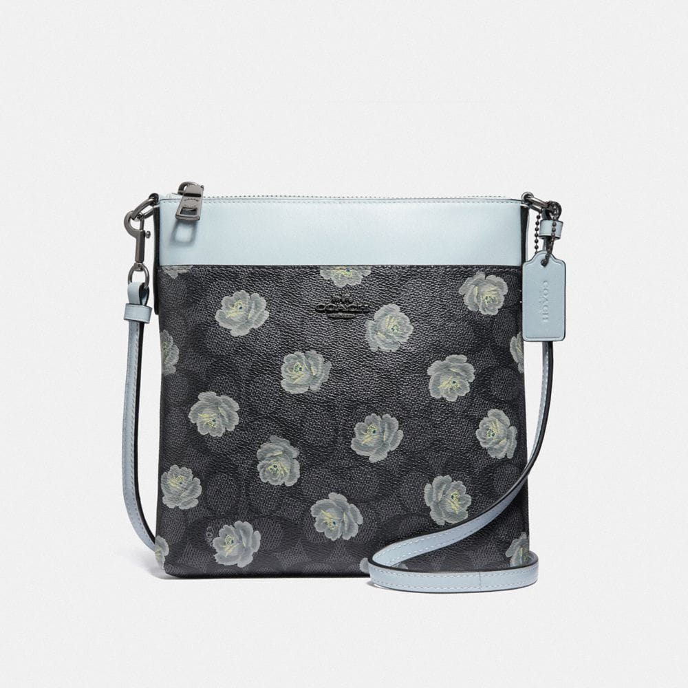 MESSENGER CROSSBODY IN SIGNATURE ROSE PRINT