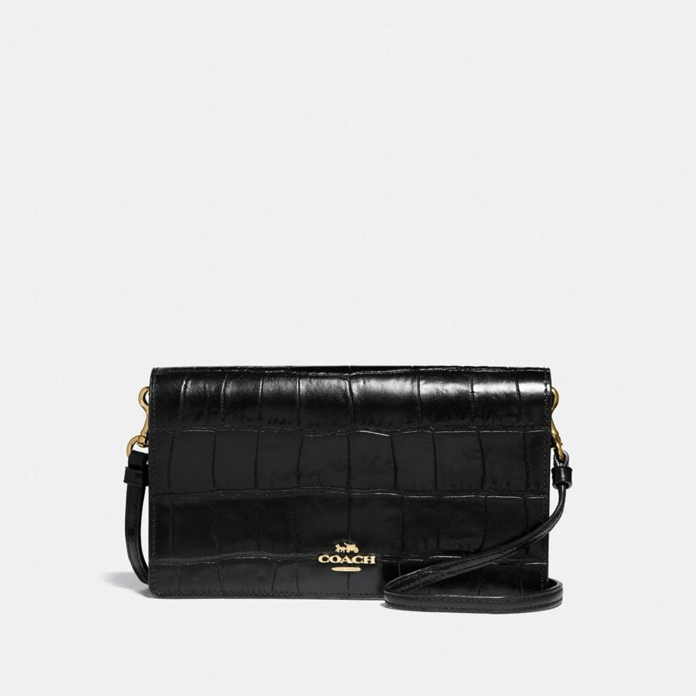 FOLDOVER CROSSBODY CLUTCH IN CROCODILE EMBOSSED LEATHER
