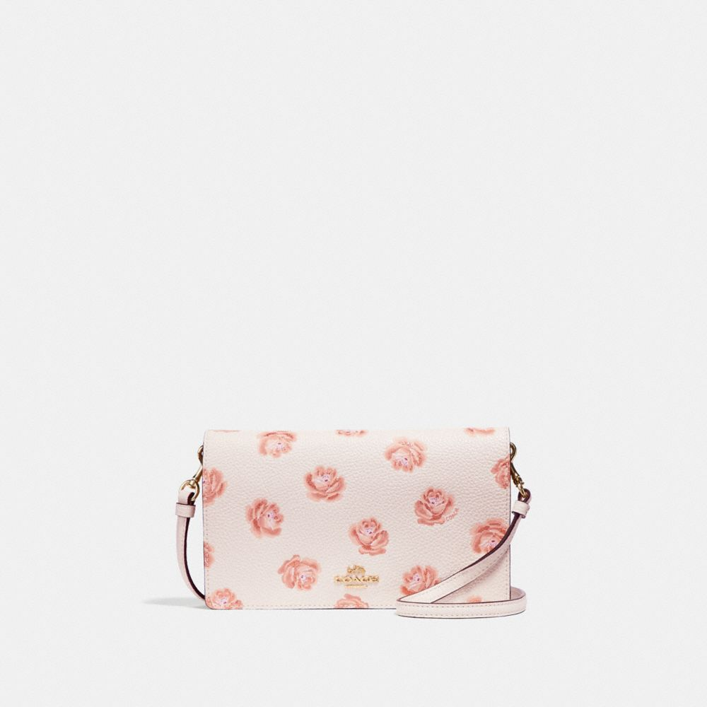 FOLDOVER CROSSBODY CLUTCH WITH ROSE PRINT