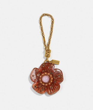 TORTOISE TEA ROSE BAG CHARM