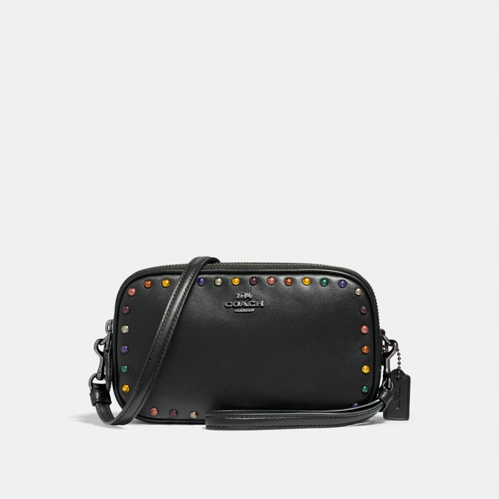 CROSSBODY CLUTCH WITH RAINBOW RIVETS
