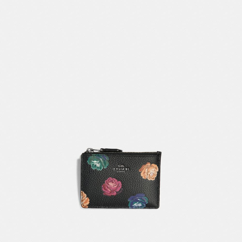 MINI SKINNY ID CASE WITH RAINBOW ROSE PRINT