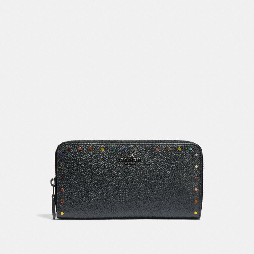 ACCORDION ZIP WALLET WITH RAINBOW RIVETS