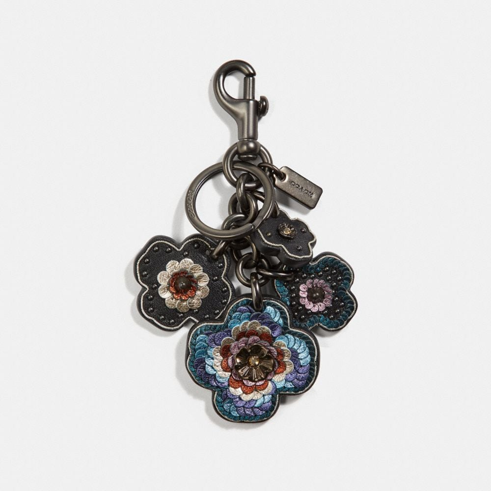LEATHER SEQUIN TEA ROSE MULTI BAG CHARM