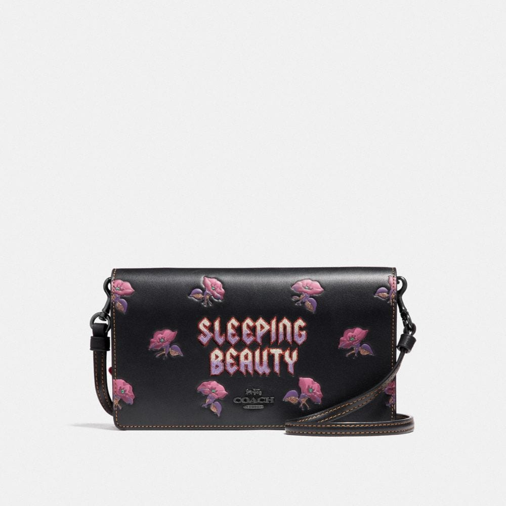 DISNEY X COACH SLEEPING BEAUTY FOLDOVER CROSSBODY CLUTCH