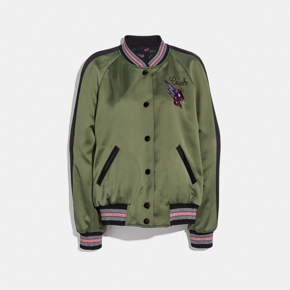 REVERSIBLE SATIN VARSITY JACKET
