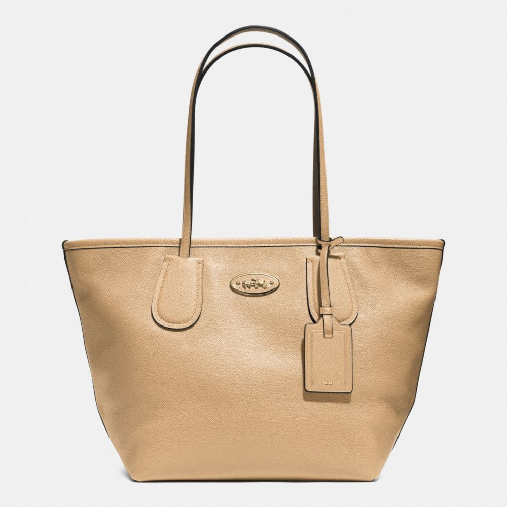 COACH TAXI ZIP TOP TOTE IN LEATHER