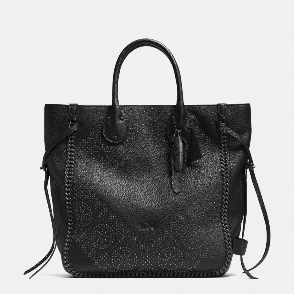 TATUM STUDDED TALL TOTE IN PEBBLED LEATHER
