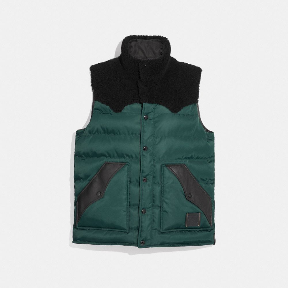 LIGHTWEIGHT PRINTED NYLON VEST WITH SHEARLING