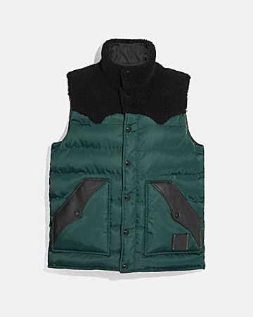 QUILTED VEST WITH SHEARLING
