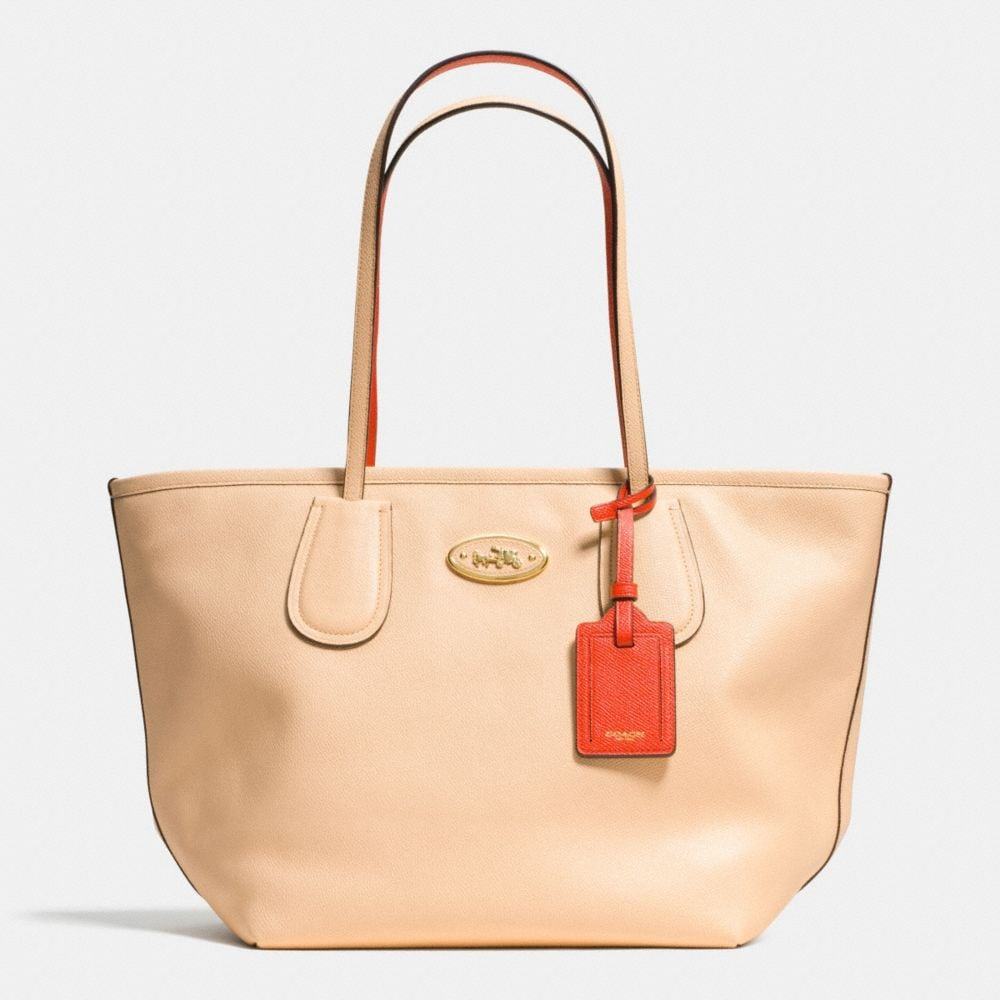 COACH TAXI ZIP TOP TOTE IN TWO TONE COLORBLOCK LEATHER