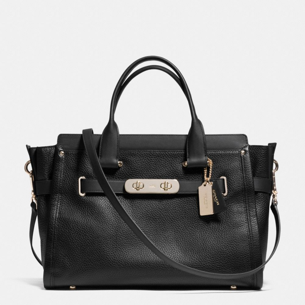 COACH SWAGGER 37 CARRYALL IN PEBBLE LEATHER