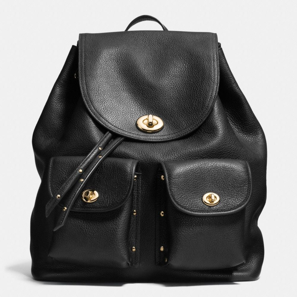 TURNLOCK TIE RUCKSACK IN REFINED PEBBLE LEATHER