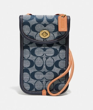 FLAT TURNLOCK CROSSBODY 12 IN SIGNATURE CHAMBRAY