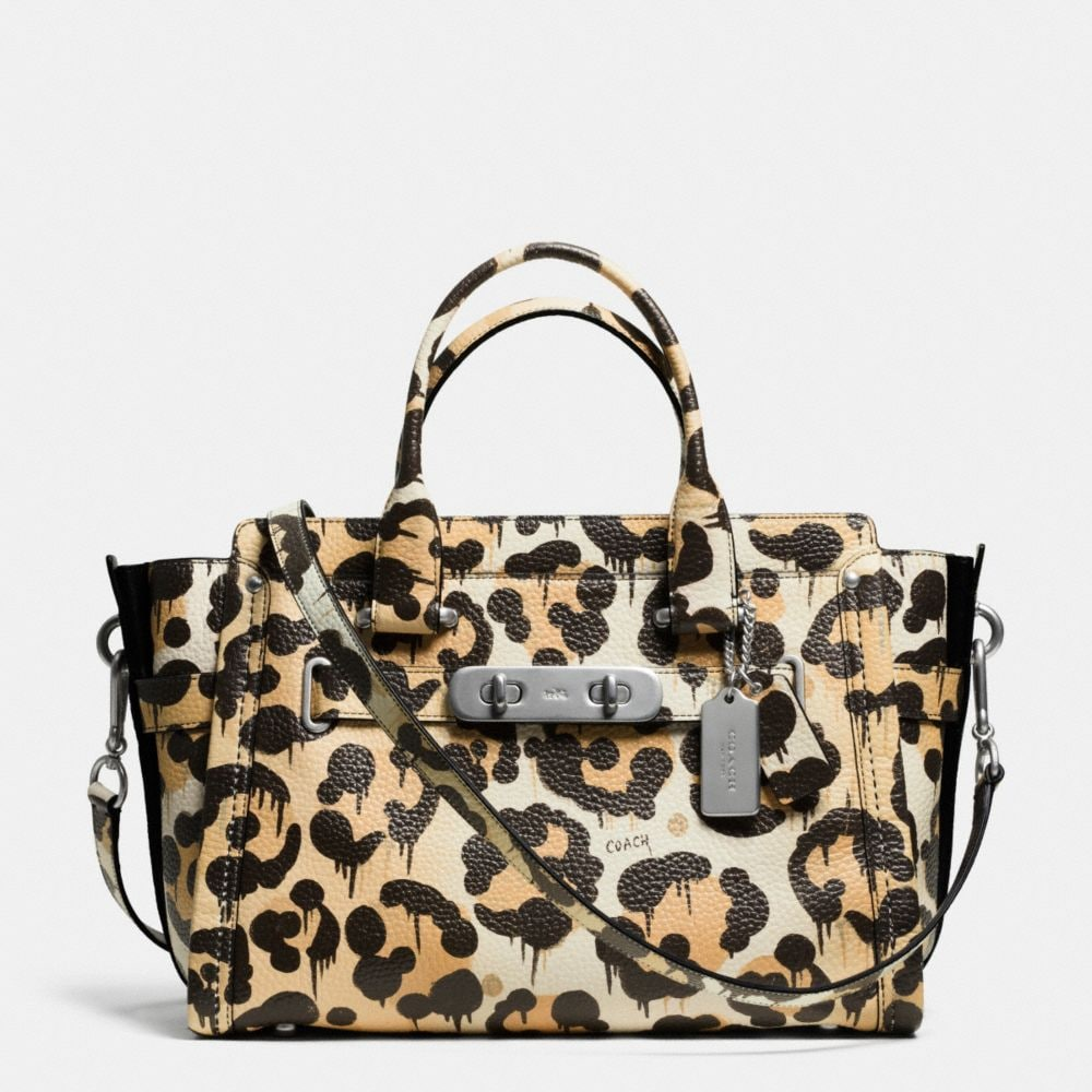 COACH SWAGGER CARRYALL IN WILD BEAST PRINT PEBBLE LEATHER