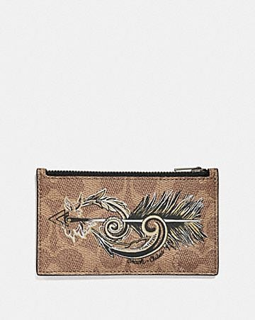 Mens card cases coach zip card case in signature canvas with tattoo colourmoves