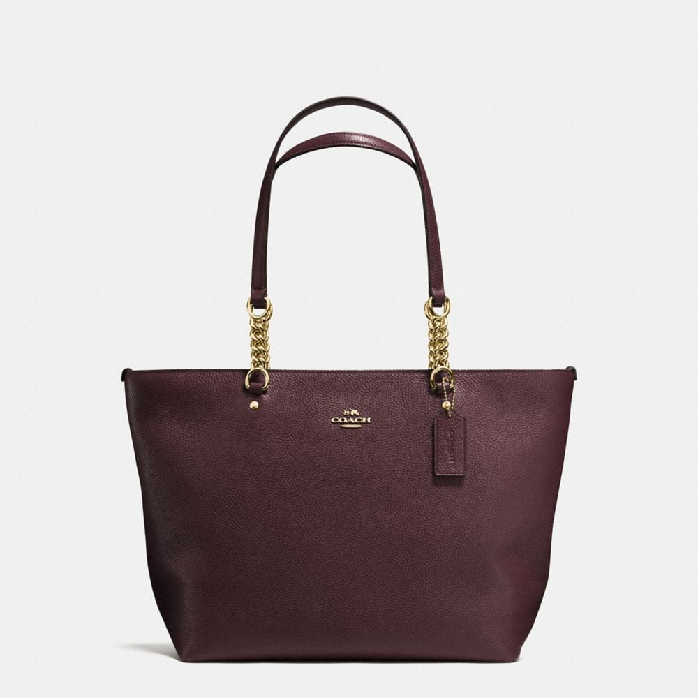 SOPHIA TOTE IN POLISHED PEBBLE LEATHER
