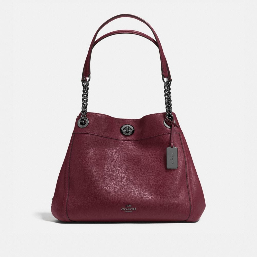 TURNLOCK EDIE SHOULDER BAG IN PEBBLE LEATHER