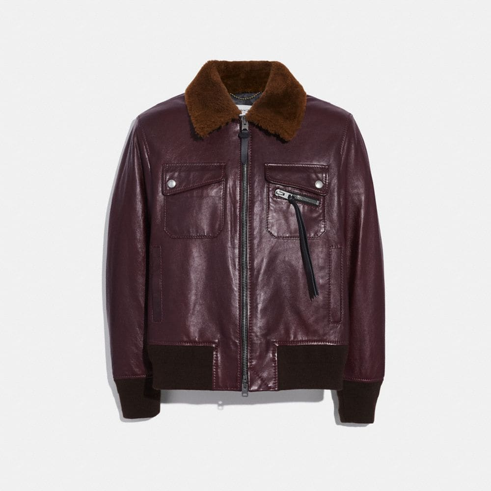 BOMBER WITH SHEARLING COLLAR