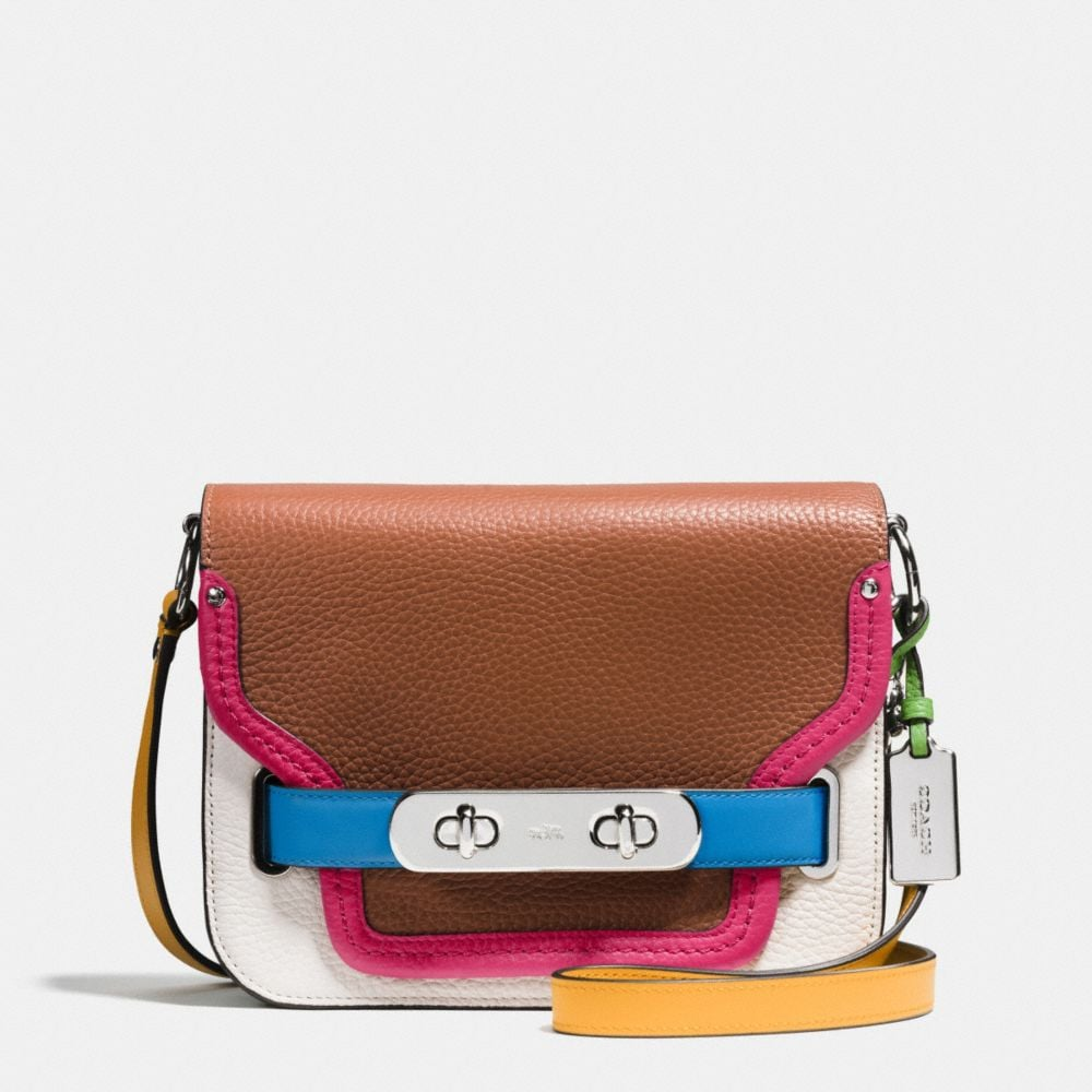 COACH SWAGGER SHOULDER BAG IN RAINBOW COLORBLOCK LEATHER