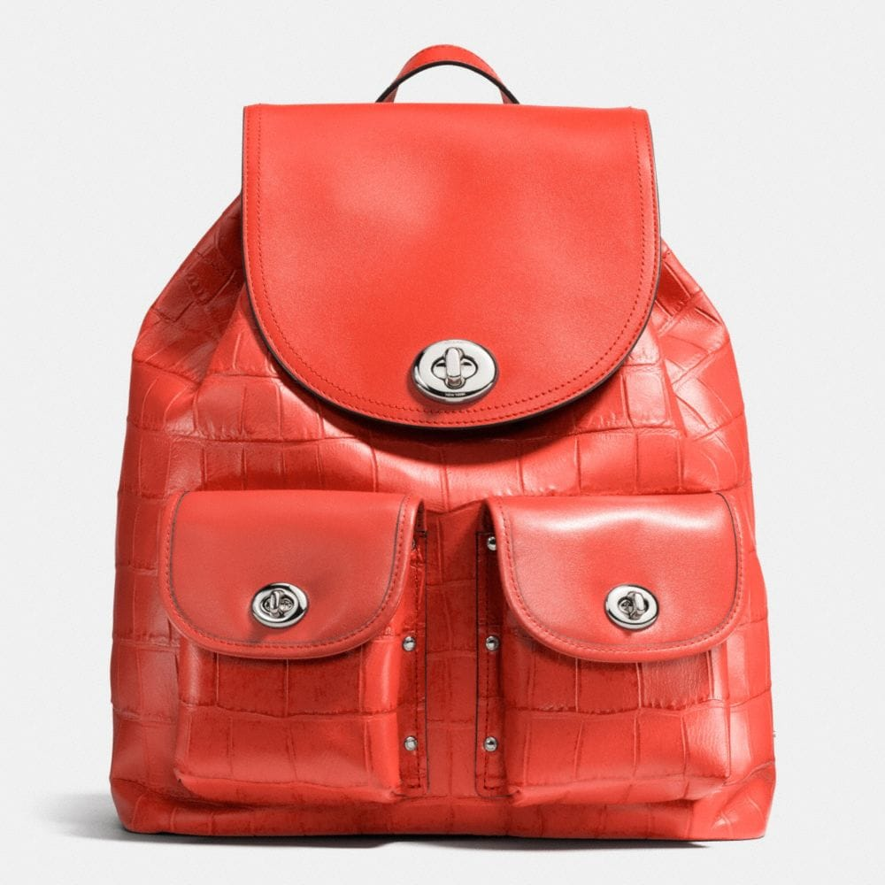 TURNLOCK RUCKSACK IN CROC EMBOSSED LEATHER