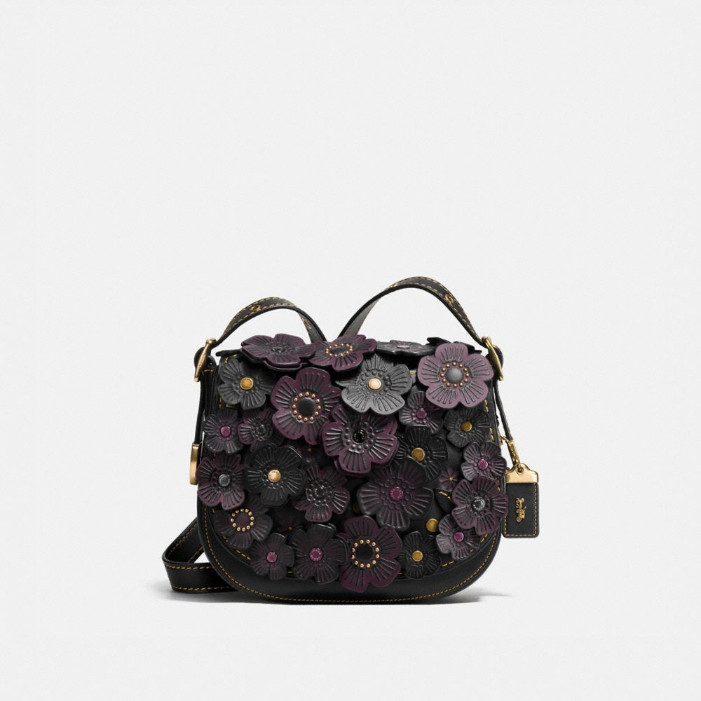 TEA ROSE APPLIQUE SADDLE BAG 23 IN LEATHER