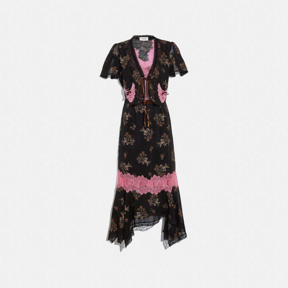 FLORAL BOUQUET PRINT LACE TRIM DRESS