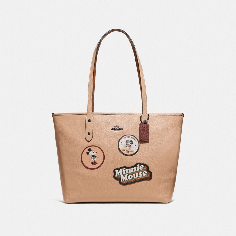 MINNIE MOUSE CITY ZIP TOTE WITH PATCHES
